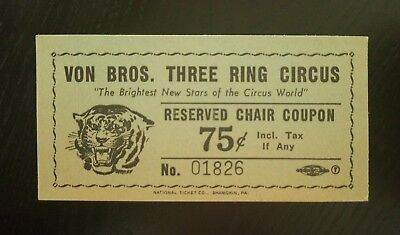 1956 VON BROS.3 RING CIRCUS Admission ticket Reserved seat check