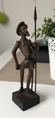Vintage OURO ARTESANIA Don Quixote Wood Carved Made In Spain 20.5cmTall Souvenir
