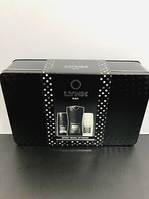 NEW Lynx Men Black Tin Gift Set Anniversary Fathers Day Deodorant BodyWash Spray