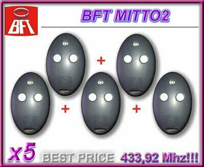 5X Télécommande Bft Mitto 2, 2Canaux, 433.92Mhz Rolling Code