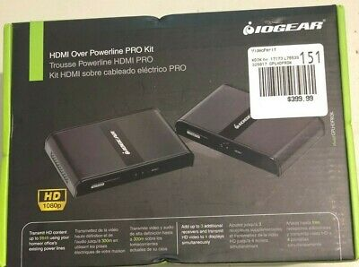 Iogear Hdmi Hd 1080 Over Powerline Pro Kit Gplhdprok Brand New, Sealed