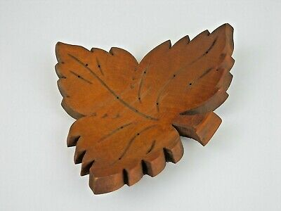 Vintage Mid-Century Wood Leaf Tidbit Hors d'oeuvre Serving Dish / Tray Toothpick