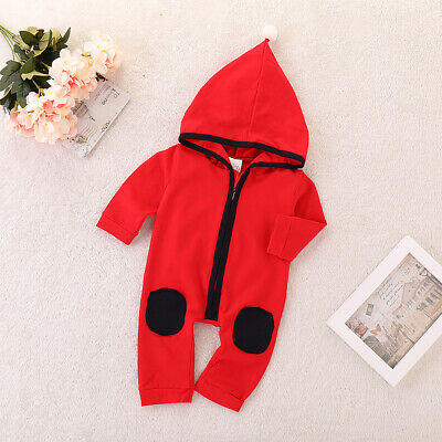Baby Infants Cute Long Sleeve Playsuit Casual Jumpsuit Red 0-18M Soft Unisex