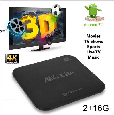 New M16 Lite Android 7.1 H3 Quad Core Smart TV Box 1+8GB 3D 4K Movies WIFI H.265