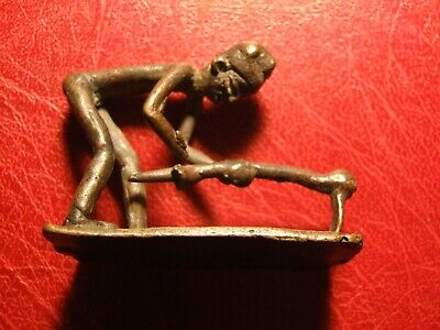 Antique Ancient African bronze figurine Man with a Hoe gardening to identify