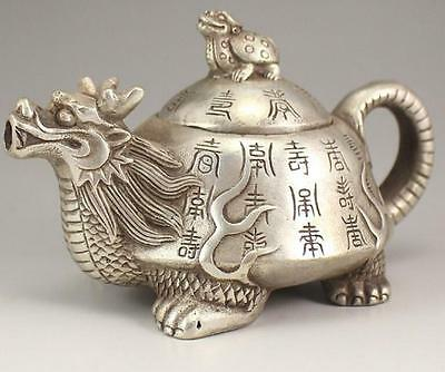 Collection Tibetan Silver Hand carved Dragon Turtle  Teapot