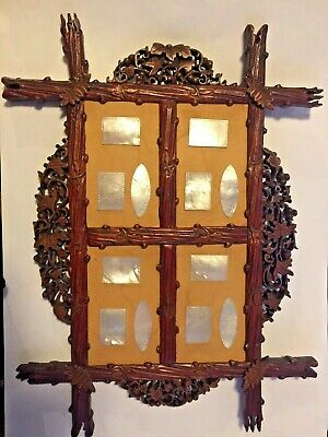 Antique Chinese MOP Mother of Pearl Gaming Counters  12 Carved  pieces