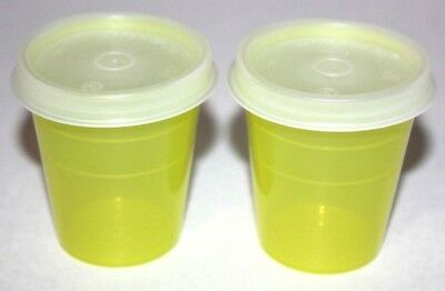 Tupperware Midgets Set of 2 Containers 2 oz. Tupper Minis Travel Chartreuse