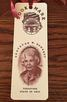 OHIO DEMOCRAT POLITICAL AD- Vintage Bookmark- Treasurer Gertrude W. Donahey