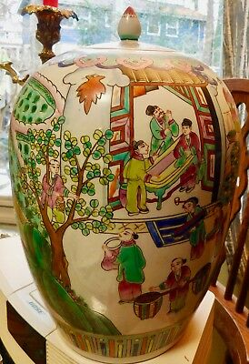 Antique Oriental Vase Pottery Urn with Lid -  Unmarked