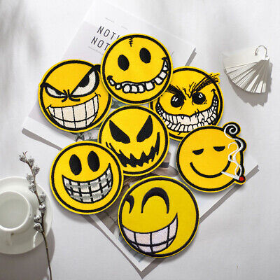 Face Expression Embroidered Sew On Iron On Patch Fabric Badge DIY Craft Transfer