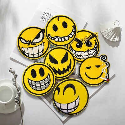 Meme Emoticon Embroidered Sew On Iron On Patch Fabric Badge DIY Craft Transfer