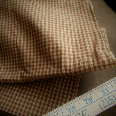 19thC Antique BROWN GINGHAM Cotton Fabric PRIMITIVE YARDAGE FARMHOUSE OLD STOCK