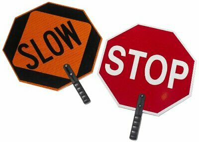 """Cortina ABS Plastic Pole Mounted Paddle Sign, """"STOP/SLOW"""", 03-851, 18"""" Sign"""