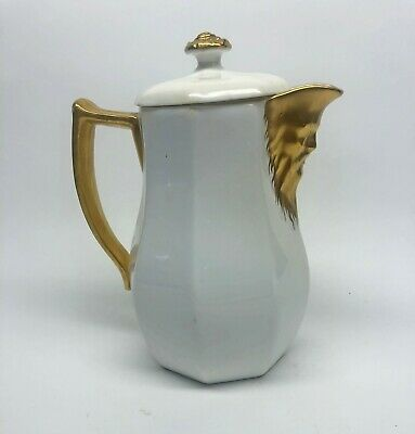 Antique W.T. Copeland China England Pitcher Gold North Wind Face; Richard Briggs