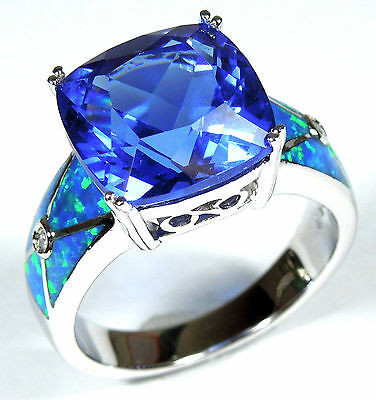 Huge Tanzanite and Blue Fire Opal Inlay 925 Sterling Silver Ring Size 6,7,8,9