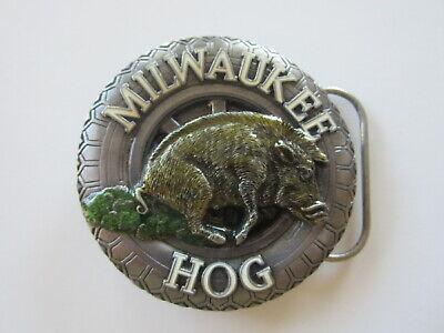 Vintage Milwaukee Hog motorcycle biker belt buckle