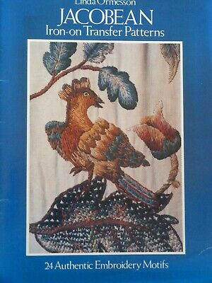 Jacobean Iron-on Transfer Patterns Book 24 Embroidery Motifs Linda Ormesson
