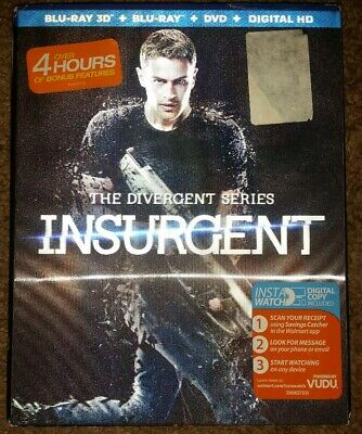 The Divergent Series INSURGENT 3D blu-ray dvd new with digital uv w/slipcover 2