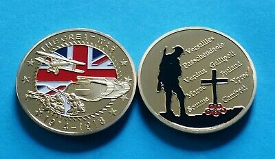 1 Pc The Great War 1914-1918 Coin WW1 Somme  POPPY UK BRITISH ARMY NEVER FORGET