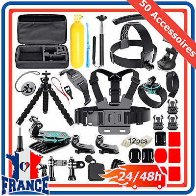 Kit de 50 Accessoires GoPro Hero 7 6 Session 5 4 3+ 3 2 1 Camera Sport SJCAM