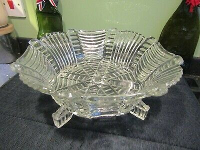 Iconic Art Deco Brockwitz? Clear Glass Octagonal Footed Centrepiece Fruit Bowl