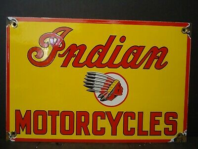 Vintage 1950's Indian Motorcycle Porcelain Dealer Advertising Sign