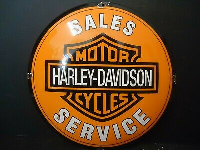 Old 1950's Motorcycle Sales-Service Dealer Dome Porcelain Sign