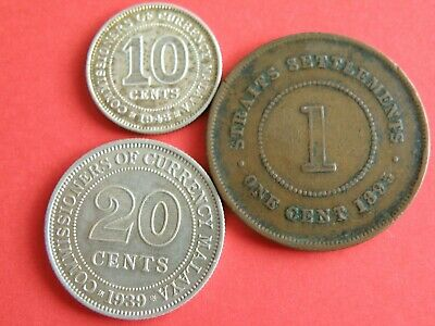 MALAYA & STRAITS SETTLEMENTS - THREE COIN GROUP incl QUEEN VICTORIA ISSUE (KE01)