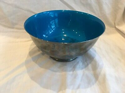"""Paul Revere REED & BARTON Silver Plated 8"""" Bowl Blue Enamel Color Interior #104"""