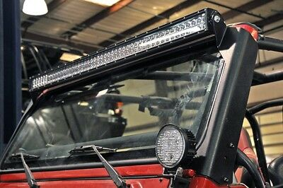 Jeep 50-inch Straight LED Light Bar Upper Windscreen Mounts (97-06 Wrangler TJ )