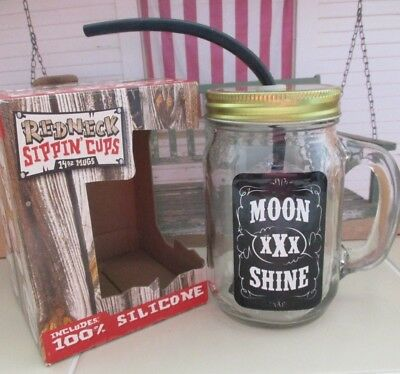 Funny Country Redneck Sippin' Cup Moon Shine Mason Jar Glass w/ silicone 9""