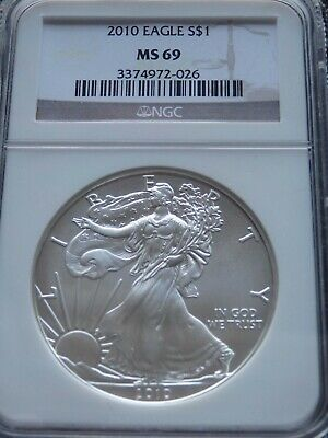 SILVER EAGLE 2010 MS69 NGC   Silver Eagle       Free Shipping