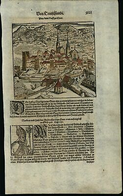 Chur Switzerland city view c.1626 Munster wood engraved hand color image