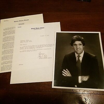 John Kerry Hand Signed 8x10 Photo & Letter Sec of State President Senate 1987