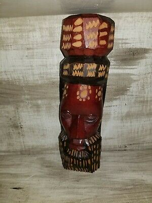 "Vintage Hand Carved Solid Wood Jamaica Head Face Statue Figurine 9 1/4"" Tall"