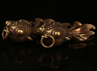 2  Chinese Bronze Hand Carving Fish Statue Pendant Collection Gift Decoration
