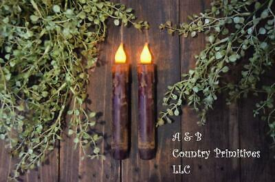 Set of (2) Two Grungy Burgundy 7 inch LED Wax Dipped Timer Battery Taper Candles
