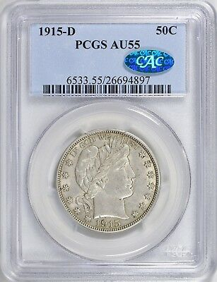 1915-D PCGS + CAC AU55 Barber Silver Half Dollar Nice Type Coin Abt Uncirculated