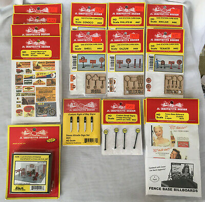 Lot of 17 JL Innovative Design HO Scale Railway Model Accessories Gas Oil Signs
