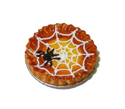 Dollhouse Miniature Halloween Cake with Pumpkins /& Spider with Webbing #HCS5