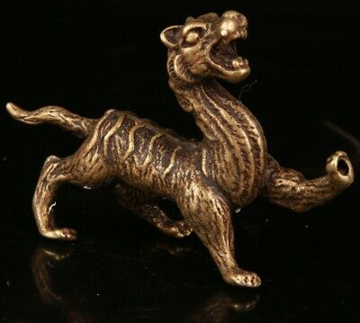Chinese Old Bronze Hand Carving Tiger Statue Collection Gift