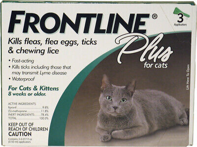 Frontline Plus Flea & Tick Control Remedies Killer for Cats, Fast Acting, 3 Pack