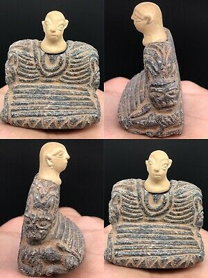 Wonderful Ancient Rare Unique old Bactrian Stone Seated Statue