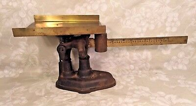 Vintage Fairbanks Cast Iron Scale with Brass Pan and Slide 4 Pound Scale