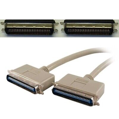 Beige color SCSI cable 50 Pin Centronics male to male 18 Inches long 38 wires
