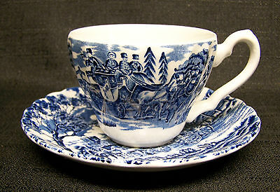 """Myott Staffordshire Royal Mail/Blue 2 1/2"""" Cup & Saucer-Made in England"""
