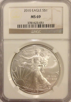 2010 American Silver Eagle - NGC MS69, Mint State, Rare, Almost Perfect, 1oz.