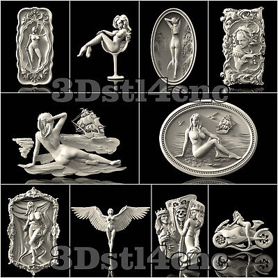 10 3D STL Models Nude Girls Set 3 for CNC Router Carving Machine Artcam aspire