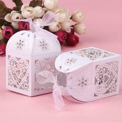 50x Love Heart Laser Cut Candy Gift Box Wedding Party Favour Box Ribbon Decor 6L